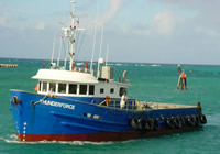 M/V Thunderforce, our chartered vessel, which takes our extractor out to the deep ocean.